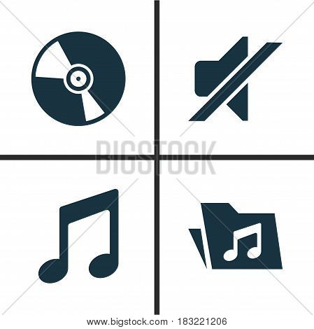 Music Icons Set. Collection Of Silence, Cd, Dossier And Other Elements. Also Includes Symbols Such As Note, Mute, Music.