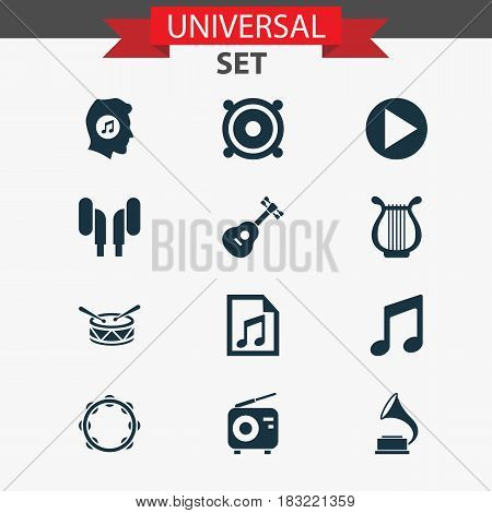 Multimedia Icons Set. Collection Of Lyre, Phonograph, Earmuff And Other Elements. Also Includes Symbols Such As Note, Radio, Lover.