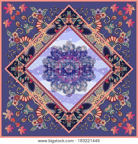 Mandala flower in ornamental frame. Bandana print, tablecloth, original carpet, blanket, greeting card, wedding invitation. Unique vector design.
