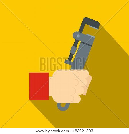Hand holdimg calipers icon. Flat illustration of hand holdimg calipers vector icon for web on yellow background
