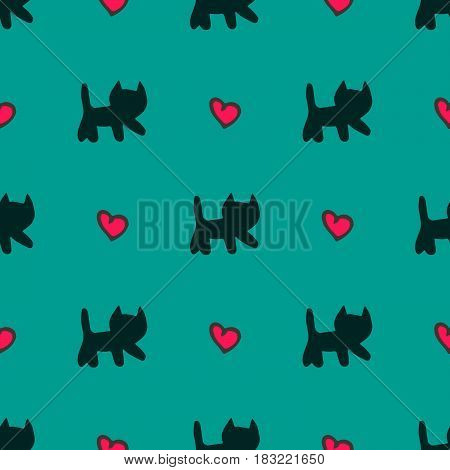 Vector hand drawn сute cats and hearts seamless pattern over teal background.