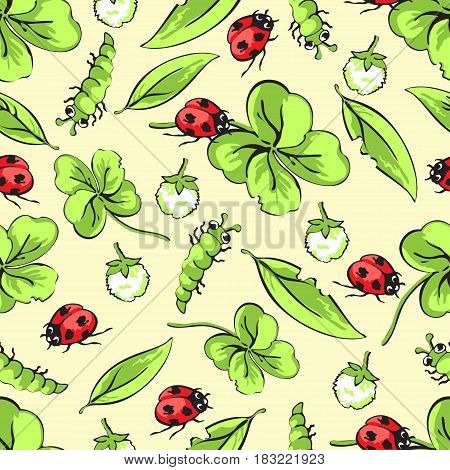 Cartoon hand drawing beetle ladybug and caterpillars, leaves and flowers of clover seamless pattern, vector background. Funny insects on a yellow backdrop. For fabric design, wallpaper, decoration