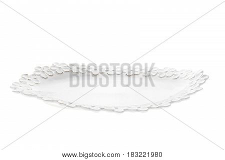 Porcelain white plate on a white background