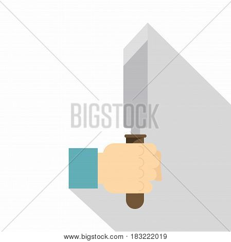 Hand holding chisel icon. Flat illustration of hand holding chisel vector icon for web on white background