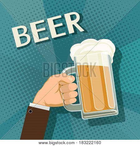 Human hand holds a mug of beer. Stock vector retro illustration.