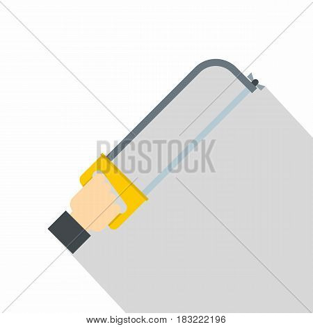 Hacksaw in man hand icon. Flat illustration of hacksaw in man hand vector icon for web on white background