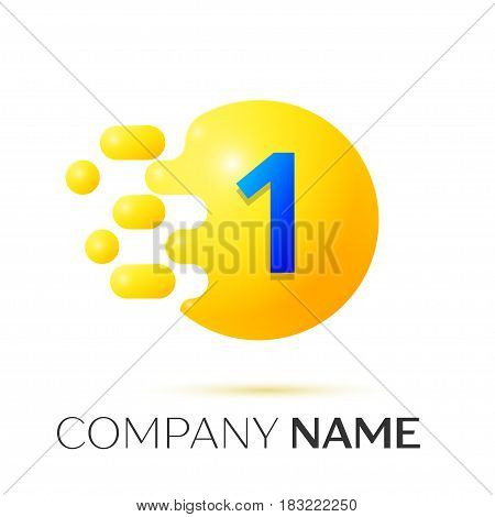 Number one splash logo. Yellow dots and bubbles number design on grey background. Vector Illustration