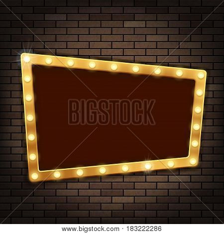 Gold frame with light bulbs on the red brick wall. Stock vector illustration.