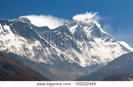 view of Mount Everest Nuptse rock face Mount Lhotse and Lhotse Shar - Sagarmatha national park - Nepal