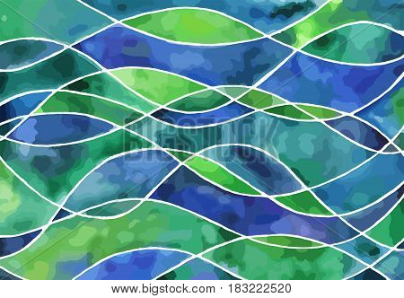 Abstract blue and green waves vector watercolor painting. Art texture horizontal background.