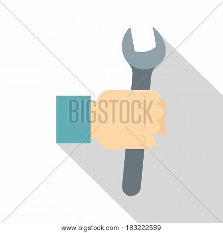 Wrench tool in man hand icon. Flat illustration of wrench tool in man hand vector icon for web on white background