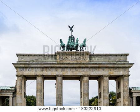 Brandenburg Gate Brandenburger Tor, famous landmark in Berlin, Germany,rebuilt in the late 18th century as a neoclassical triumphal arch