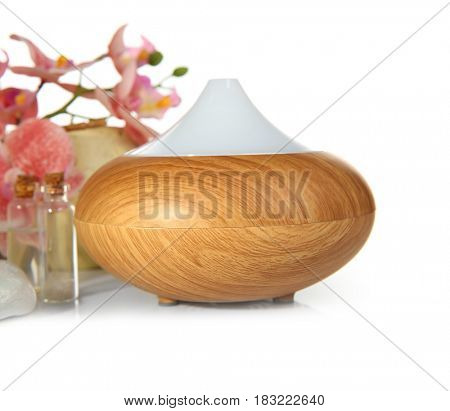 Oil diffuser on white background