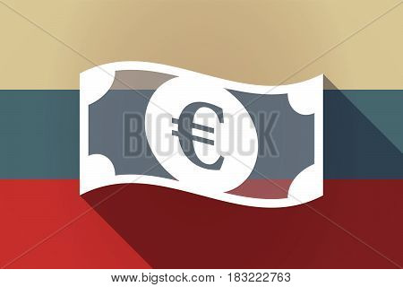 Ong Shadow Russia Flag With  An Euro Bank Note