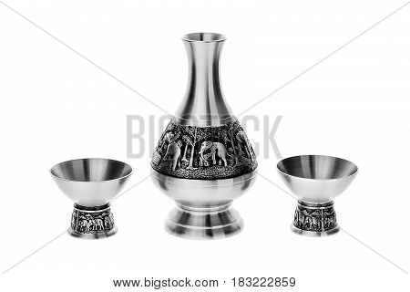 Metal shot, metal utensils on isolated white background