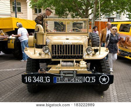 BERLIN - MAY 28: U.S. light military trucks Dodge WC-51 ​​the exhibition