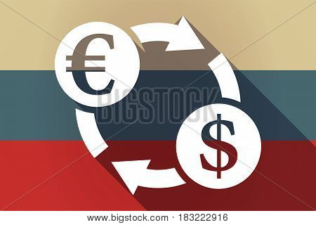 Ong Shadow Russia Flag With  An Euro Dollar Exchange Sign