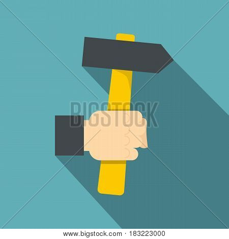 Hand hoding hammer with yellow tool icon. Flat illustration of hand hoding hammer with yellow tool vector icon for web on baby blue background