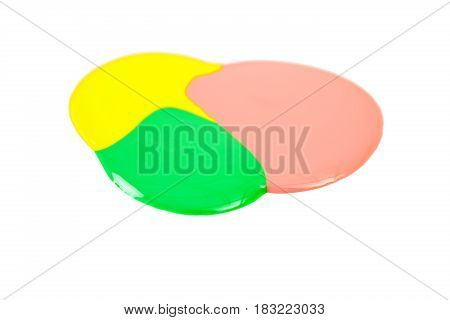 Blot of yellow, pink and green nail polish isolated on the white background