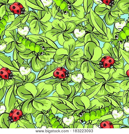 Cartoon hand drawing beetle ladybug and caterpillars, leaves and flowers of clover seamless pattern, vector background. Funny insects on a blue backdrop. For fabric design, wallpaper, decoration