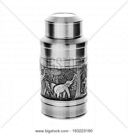 A metal thermos, on a isolated white background