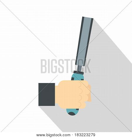 Chisel tool in man hend icon. Flat illustration of chisel tool in man hend vector icon for web on white background