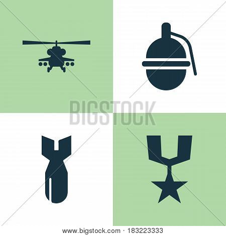 Army Icons Set. Collection Of Bombshell, Chopper, Rocket And Other Elements. Also Includes Symbols Such As Chopper, Helicopter, Dynamite.