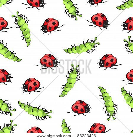 Cartoon hand drawing beetle ladybug and caterpillars seamless pattern, vector background. Funny insects on a white backdrop. For fabric design, wallpaper, wrapper, print, decoration