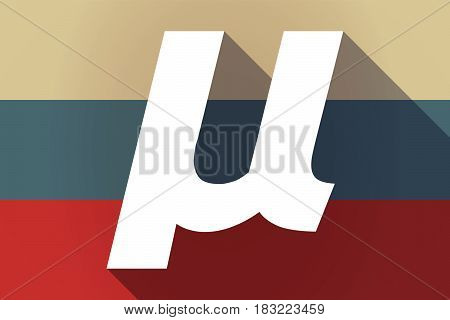 Ong Shadow Russia Flag With  A Micro Sign, Mu Greek Letter