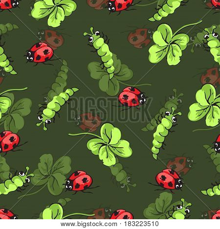 Cartoon hand drawing beetle ladybug, caterpillars and leaves clover seamless pattern, vector background. Funny insects on a green backdrop. For fabric design, wallpaper, decoration