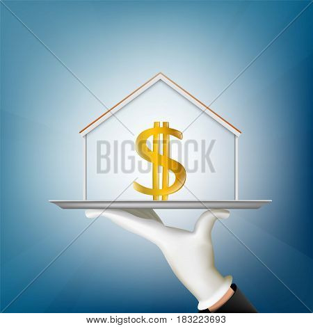 Human hand holds a tray with a house and a dollar sign. Real estate concept. Stock vector illustration.