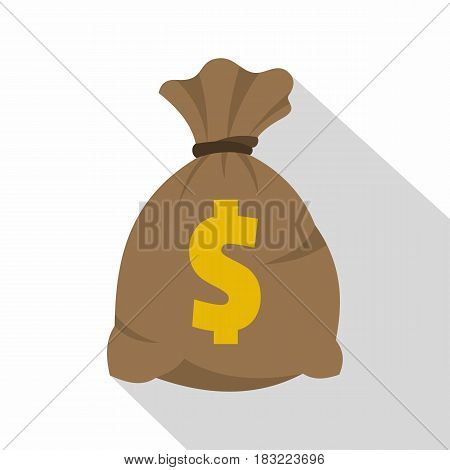 Money bag with US dollar sign icon. Flat illustration of money bag with US dollar sign vector icon for web on white background