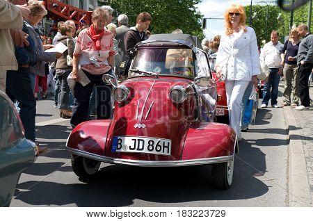 "BERLIN - MAY 28: Messerschmitt KR200 the exhibition ""125 car history - 125 years of history Kurfurstendamm"" May 28 2011 in Berlin Germany"