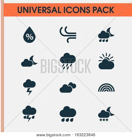 Climate Icons Set. Collection Of Nightly, Weather, Breeze And Other Elements. Also Includes Symbols Such As Flash, Overcast, Rainbow.