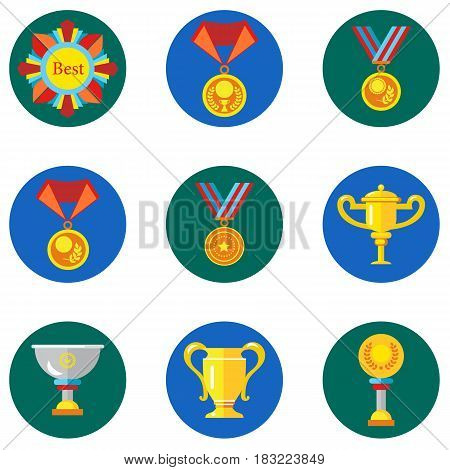 Icons cups, awards, medals in the flat style. Vector image on a round colored background. Element of design, interface.