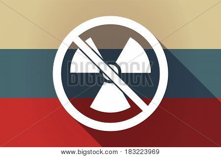 Ong Shadow Russia Flag With  A Radioactivity Sign  In A Not Allowed Signal