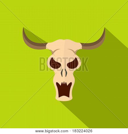 Buffalo skull icon. Flat illustration of buffalo skull vector icon for web on lime background