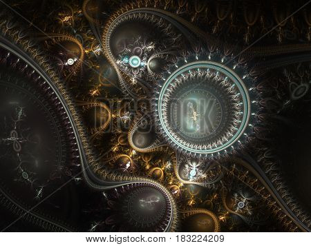 An abstract computer generated modern fractal design on dark background. Abstract fractal color texture. Digital art. Abstract Form & Colors. Abstract fractal element pattern for your design. Steampunk. Time machine
