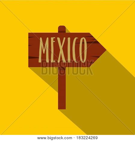Mexico wooden direction arrow sign icon. Flat illustration of mexico wooden direction arrow sign vector icon for web on yellow background