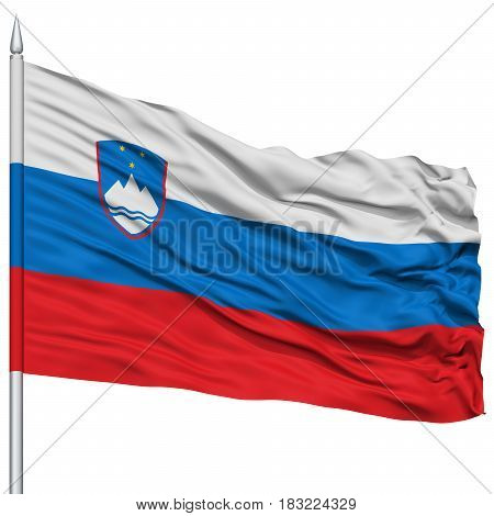 Slovenia Flag on Flagpole , Flying in the Wind, Isolated on White Background