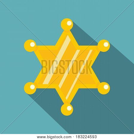 Sheriff star icon. Flat illustration of sheriff star vector icon for web on baby blue background