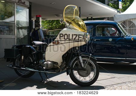 "BERLIN - MAY 28: Police motorcycle the exhibition ""125 car history - 125 years of history Kurfurstendamm"" May 28 2011 in Berlin Germany"