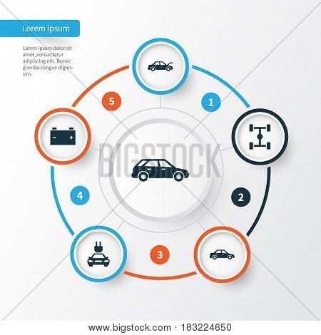 Auto Icons Set. Collection Of Plug, Automobile, Accumulator And Other Elements. Also Includes Symbols Such As Hood, Car, Auto.
