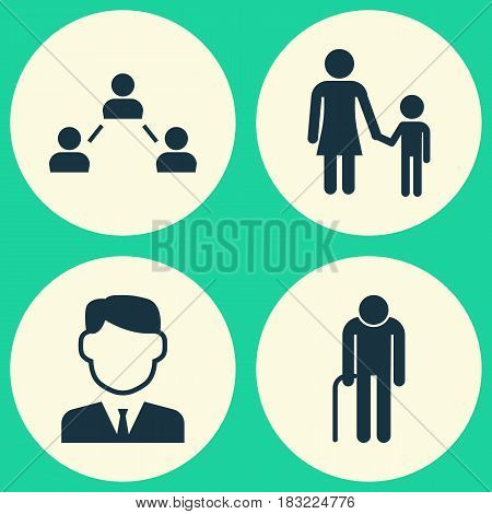 Person Icons Set. Collection Of Work Man, Family, Grandpa Elements. Also Includes Symbols Such As Mother, Social, Man.
