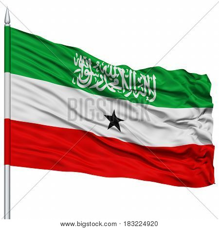 Somaliland Flag on Flagpole , Flying in the Wind, Isolated on White Background