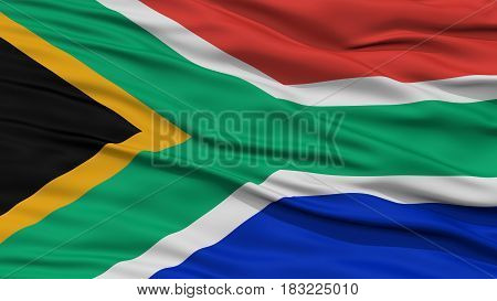 Closeup South Africa Flag, Waving in the Wind, High Resolution
