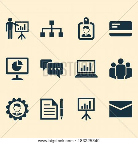 Business Icons Set. Collection Of Payment, Presenting Man, Group And Other Elements. Also Includes Symbols Such As Page, Business, Envelope.