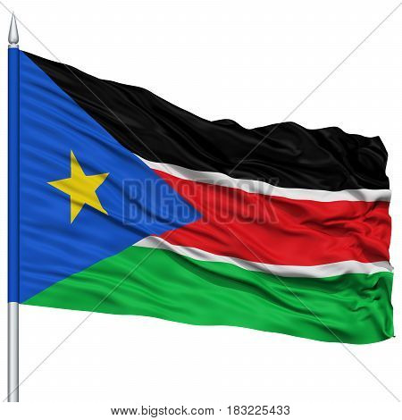 South Sudan Flag on Flagpole , Flying in the Wind, Isolated on White Background