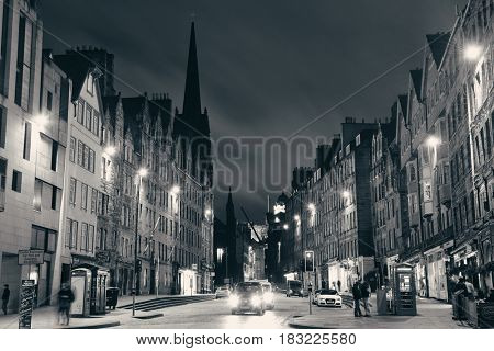 EDINBURGH, UK - OCT 8: City street view on October 8, 2013 in Edinburgh. As the capital city of Scotland, it is the largest financial centre after London in the UK.