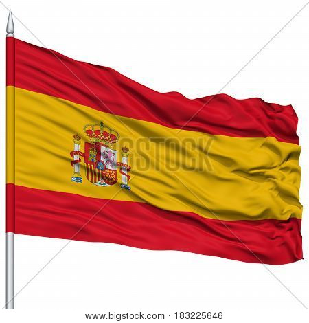 Spain Flag on Flagpole , Flying in the Wind, Isolated on White Background